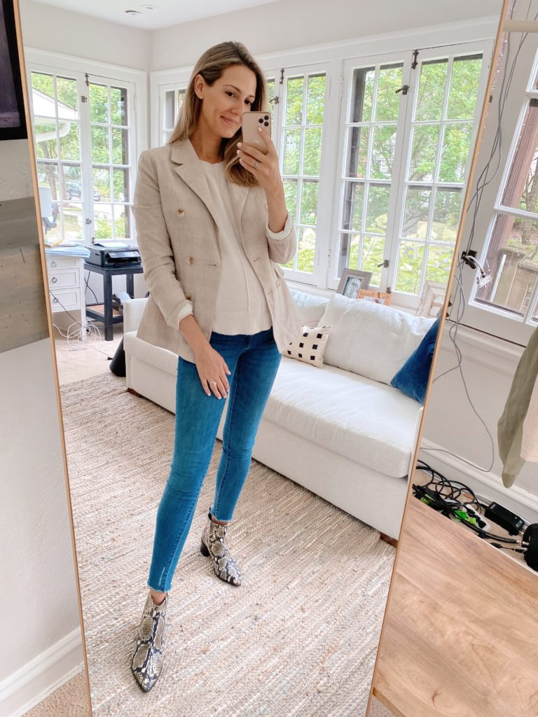 blazer jeans booties maternity
