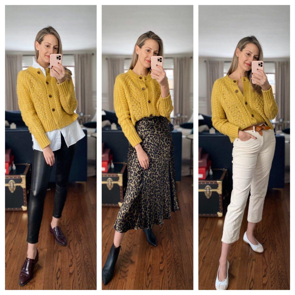 how to style yellow cardigan three ways