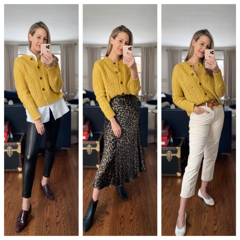 how to style yellow cardigan three ways