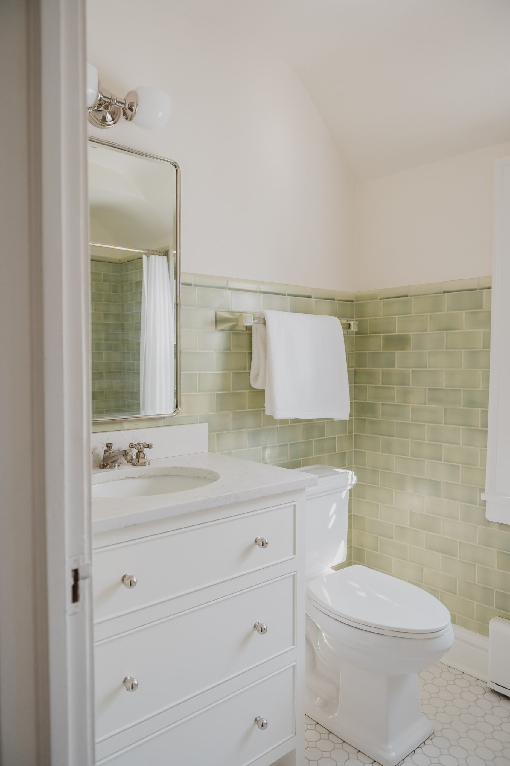 Green Bathroom Before and After