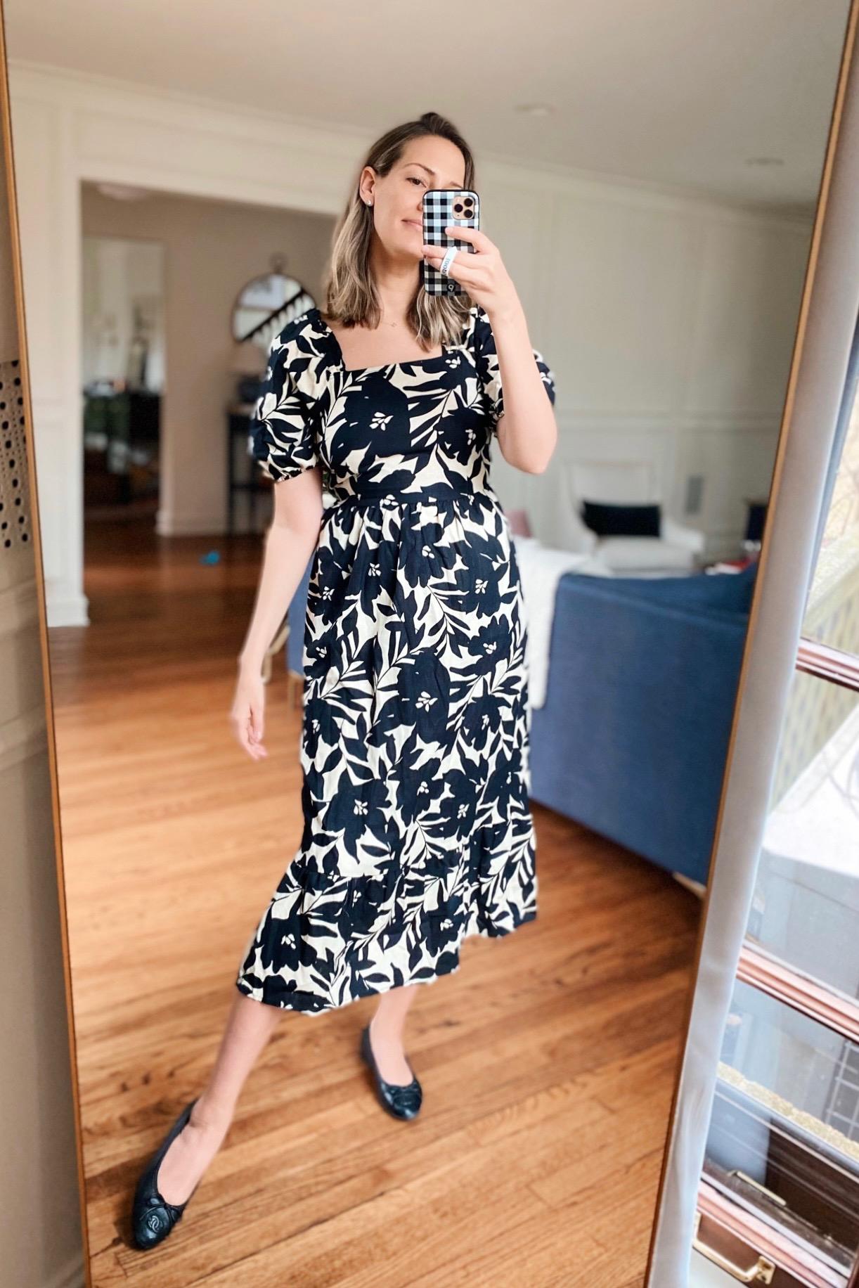 black and white spring dress idea