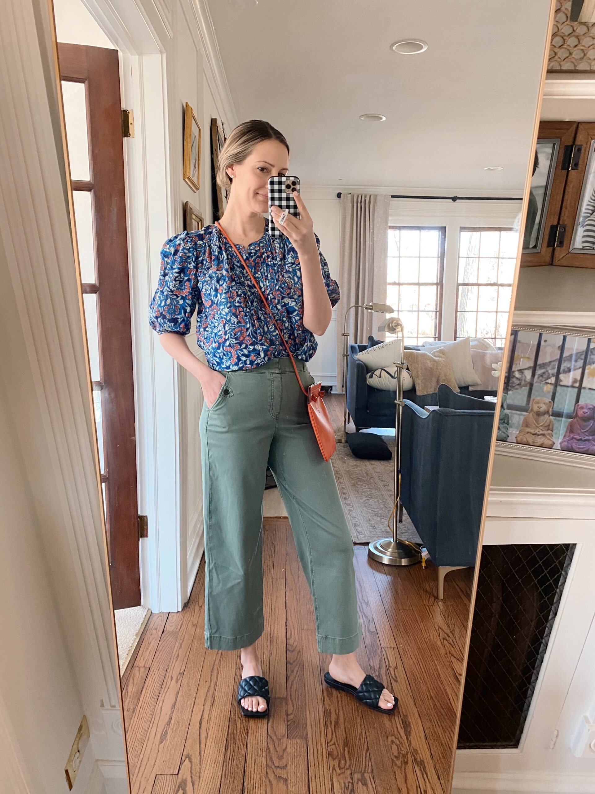 Real Outfit Recap 31 - Woman wearing printed top and spanx pants
