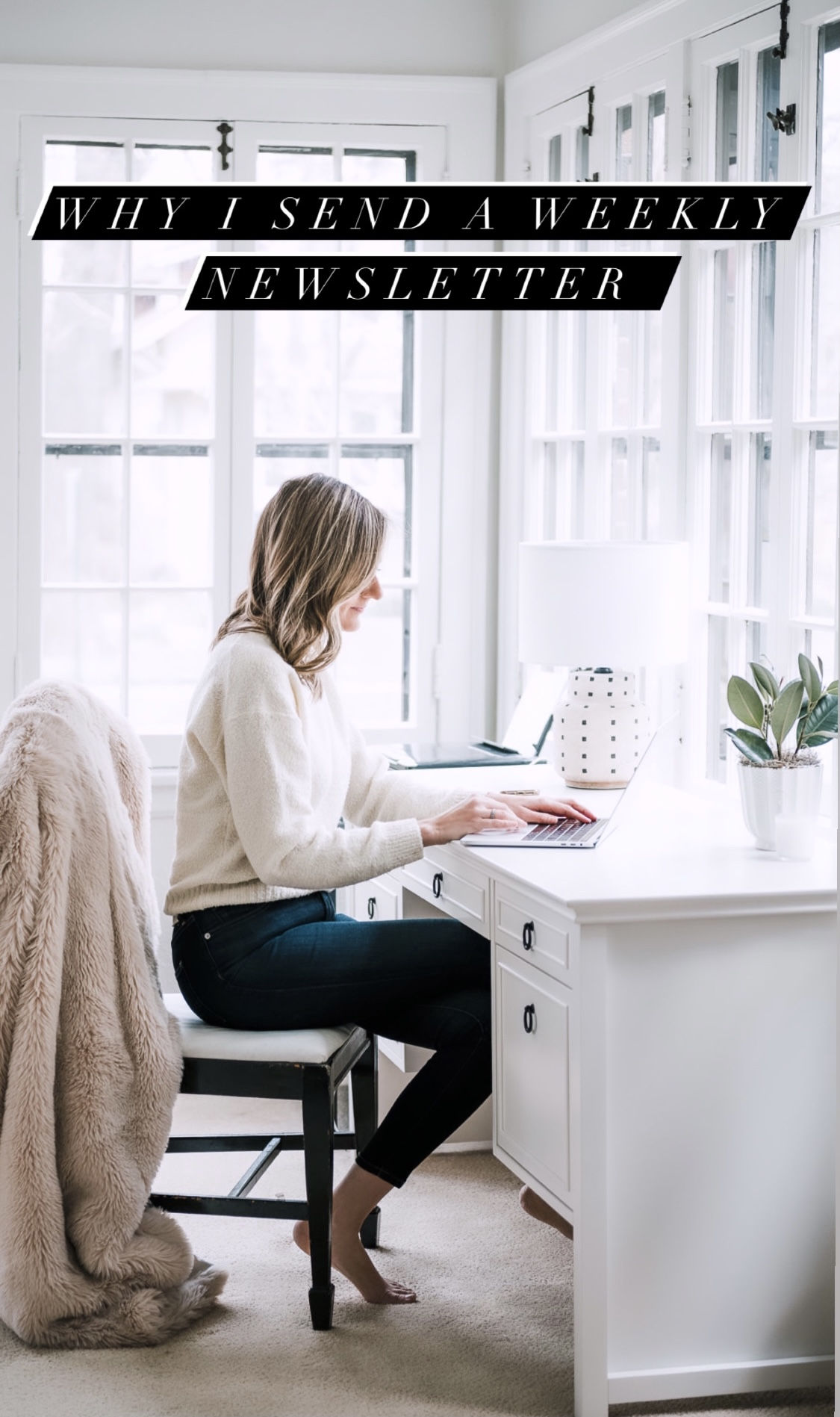 woman working in her computer writing a newsletter