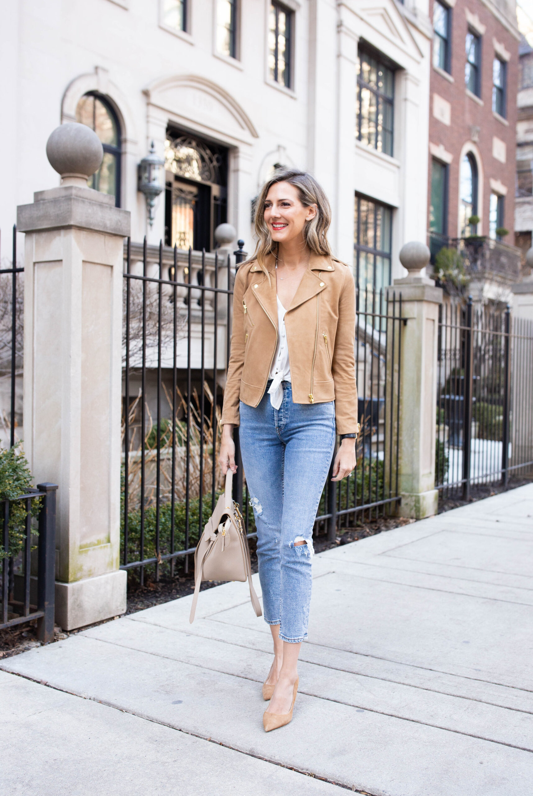 woman wearing jacket and denim pants for Denim to Love