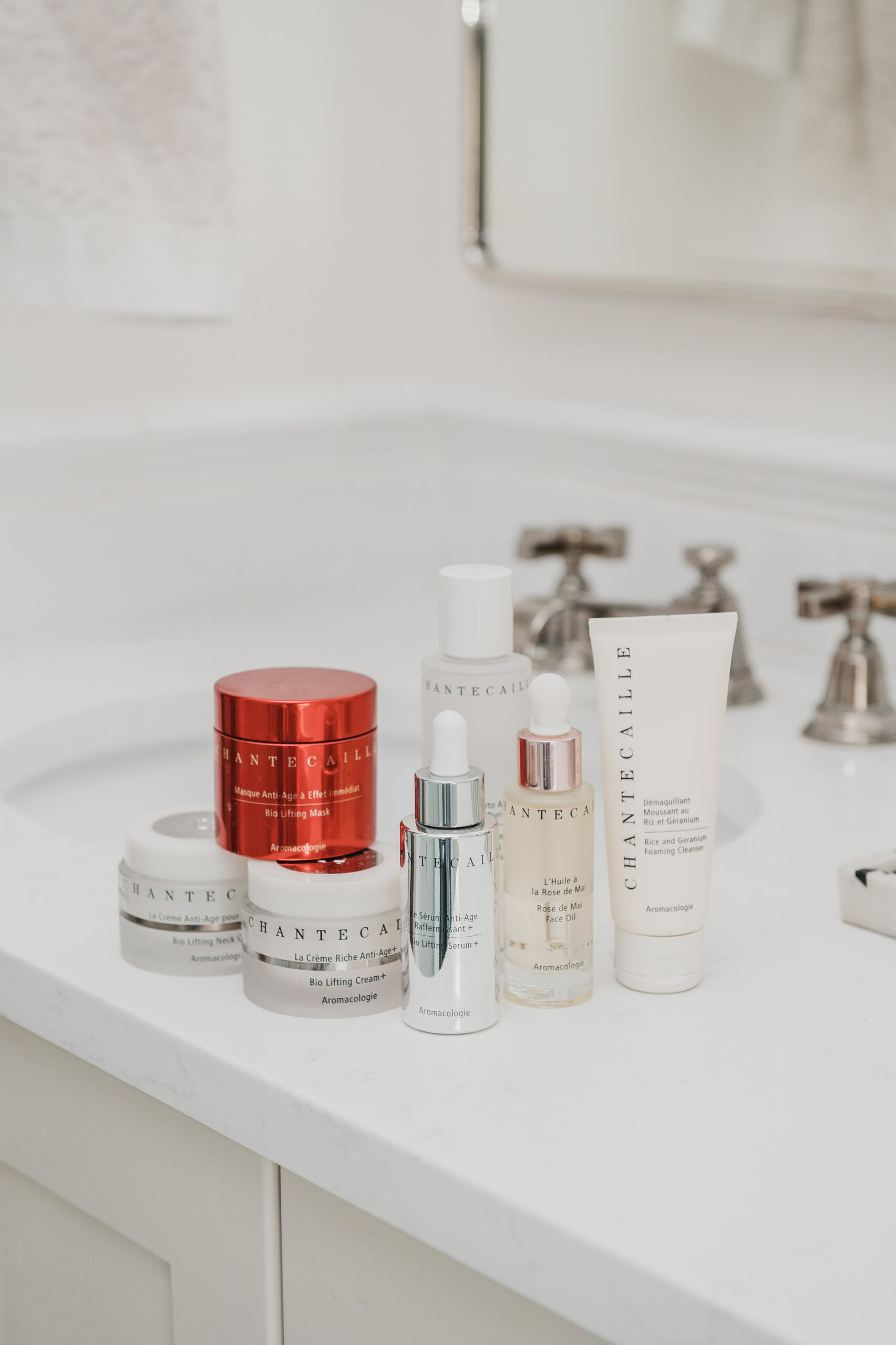 chantecaille skincare review products on the counter