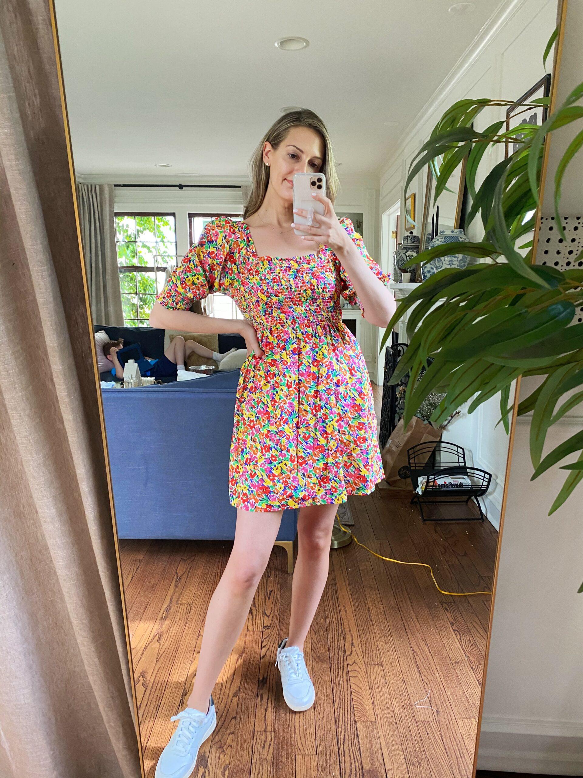 woman wearing floral dress by Target Rixo Dress