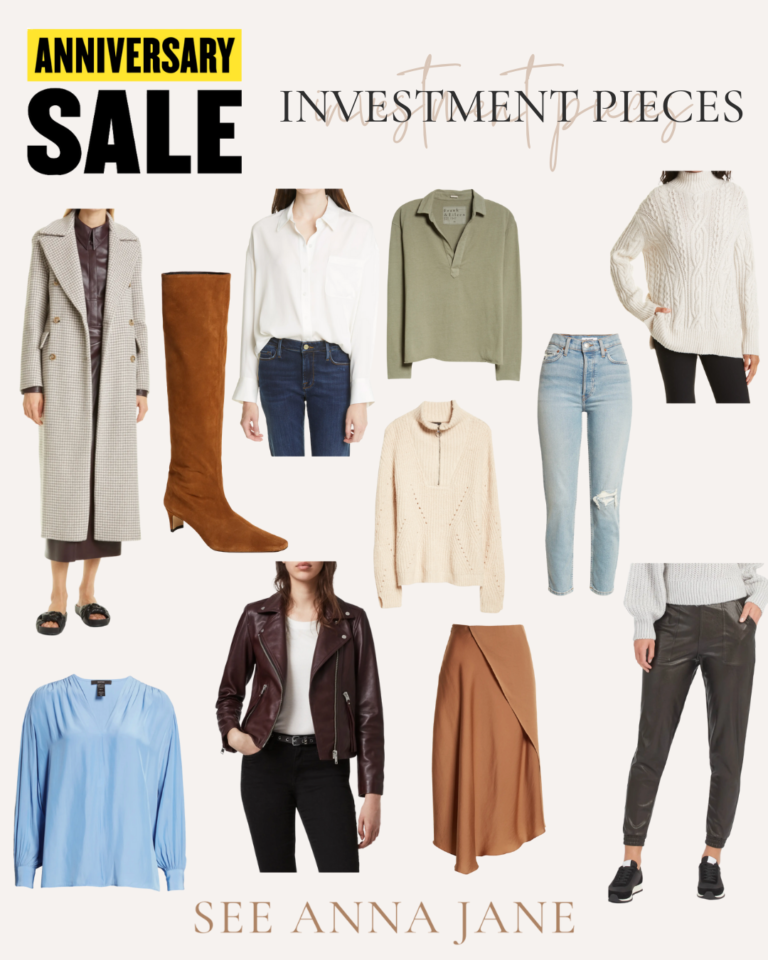 collage of clothes for Nordstrom Anniversary Sale Staples