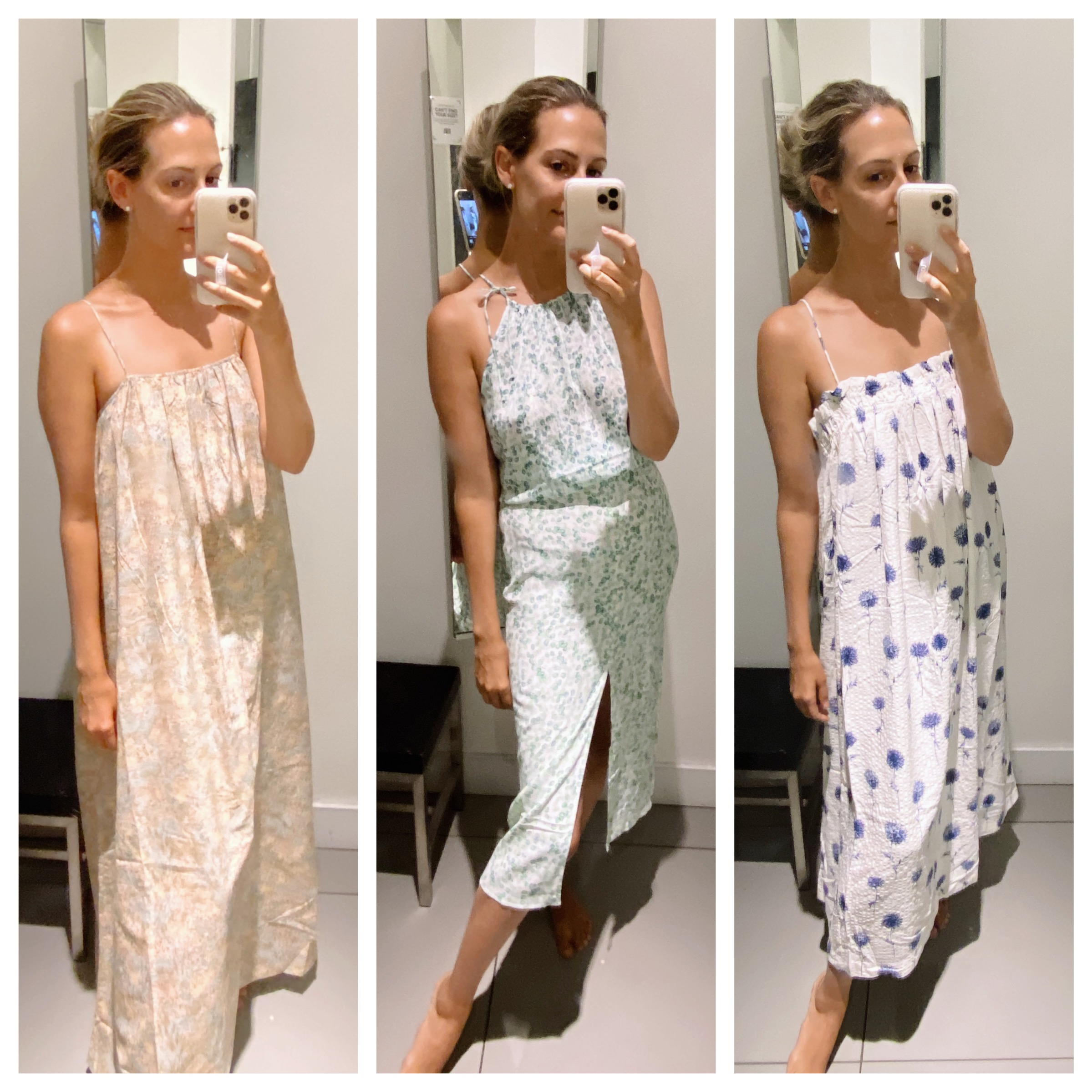 collage photo of woman trying on dresses and sharing Tips for Shopping at Hm