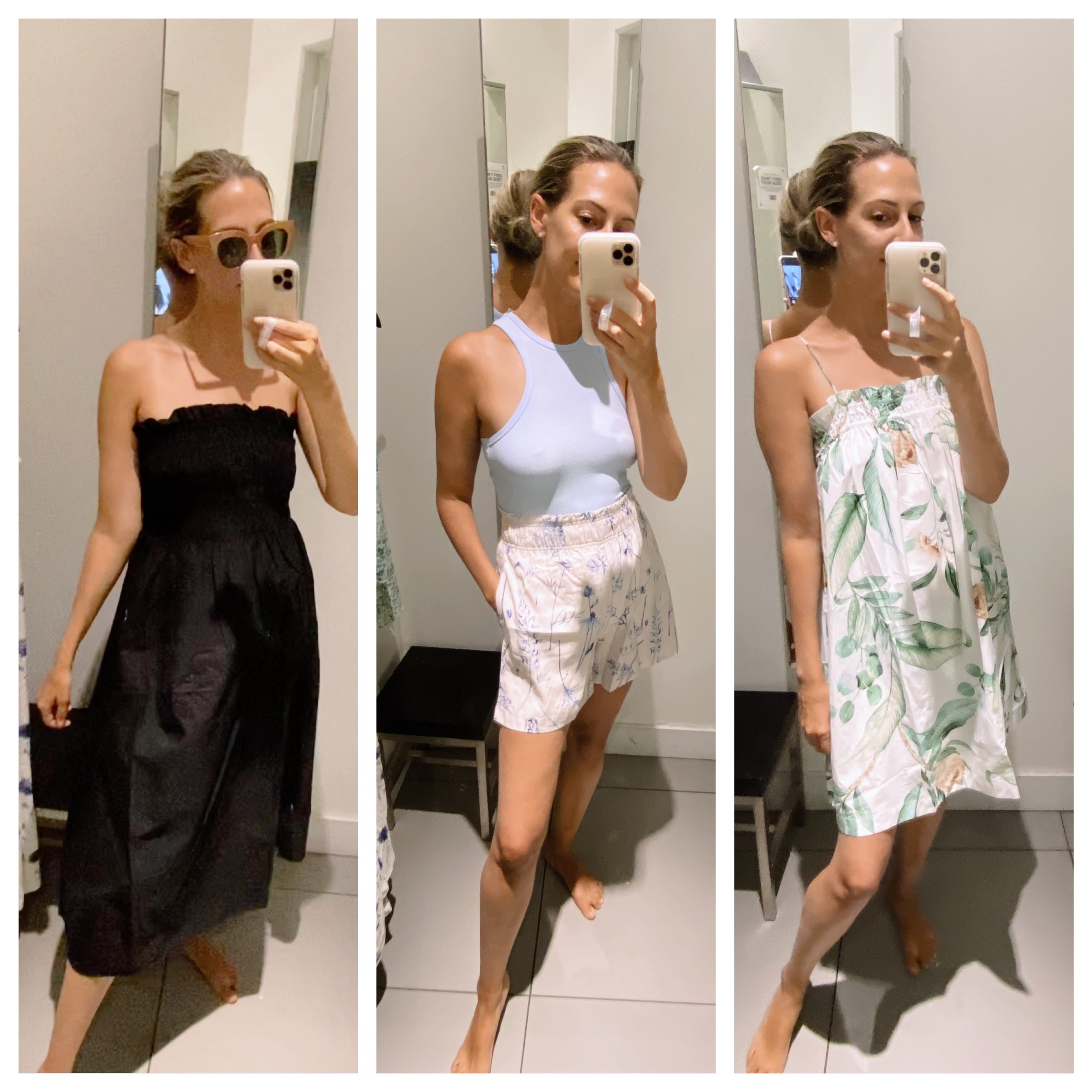 collage photo of woman taking a selfie and trying on clothes and sharing Tips for Shopping at Hm