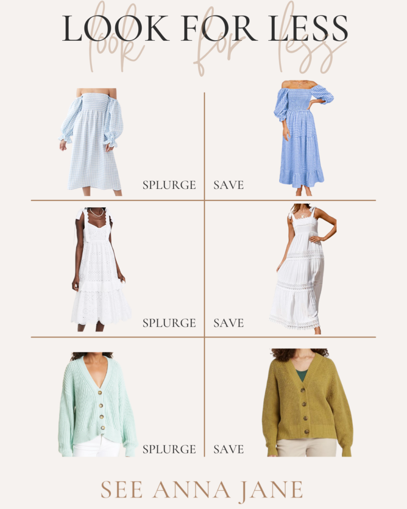 collage of clothes for save or splurge Late Summer Edition