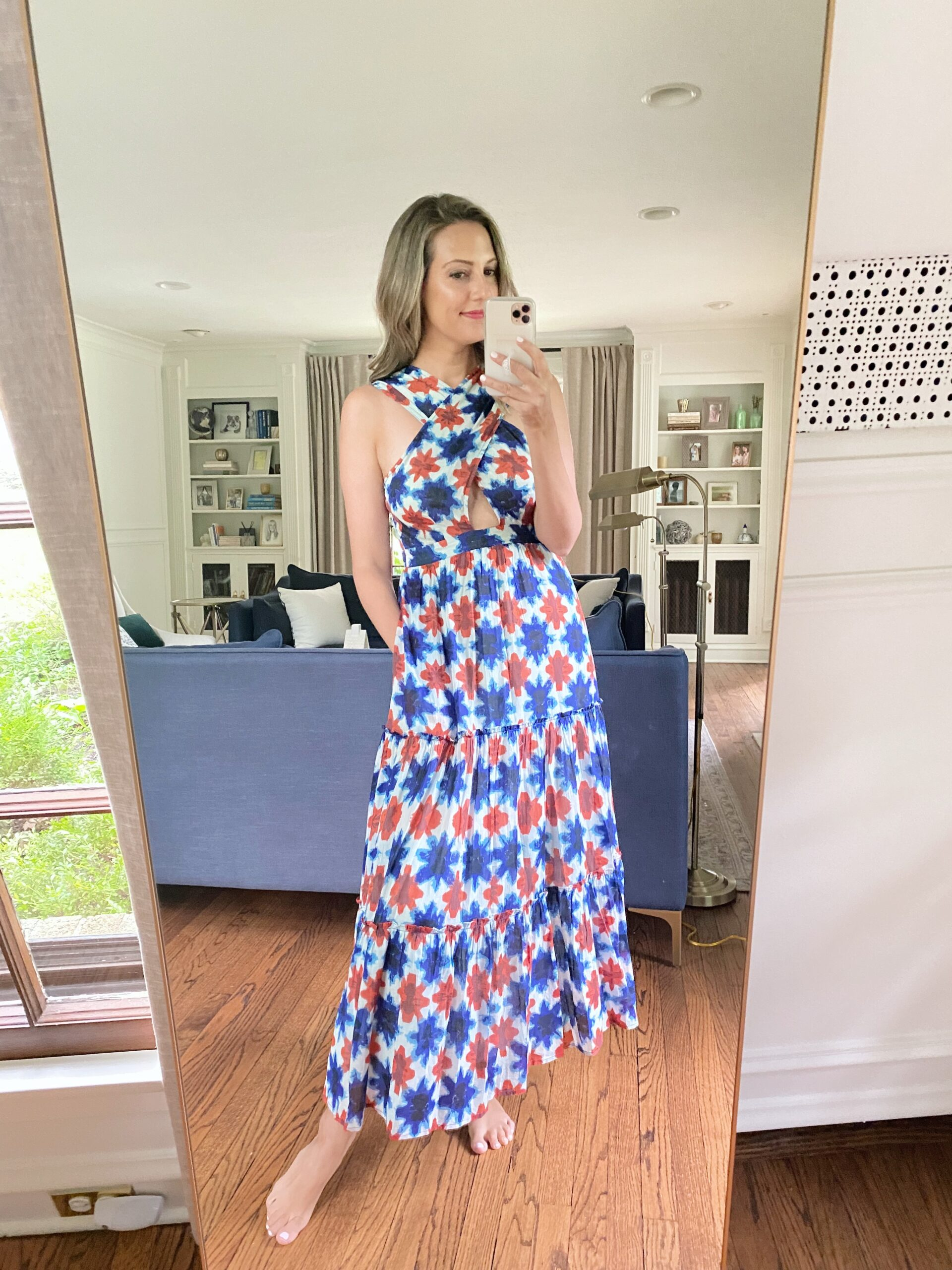 Real Outfit Recap woman wearing blue and red dress