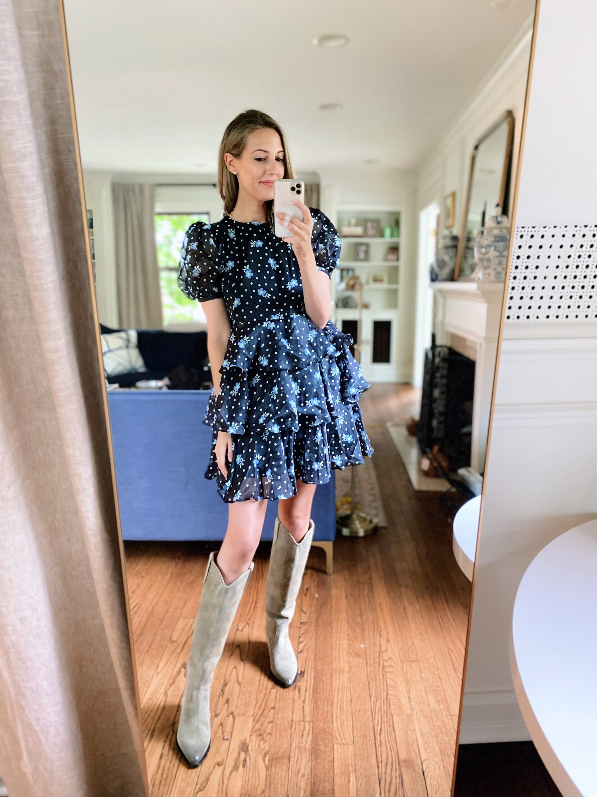 woman in blue dress and boots from Target Tuesday