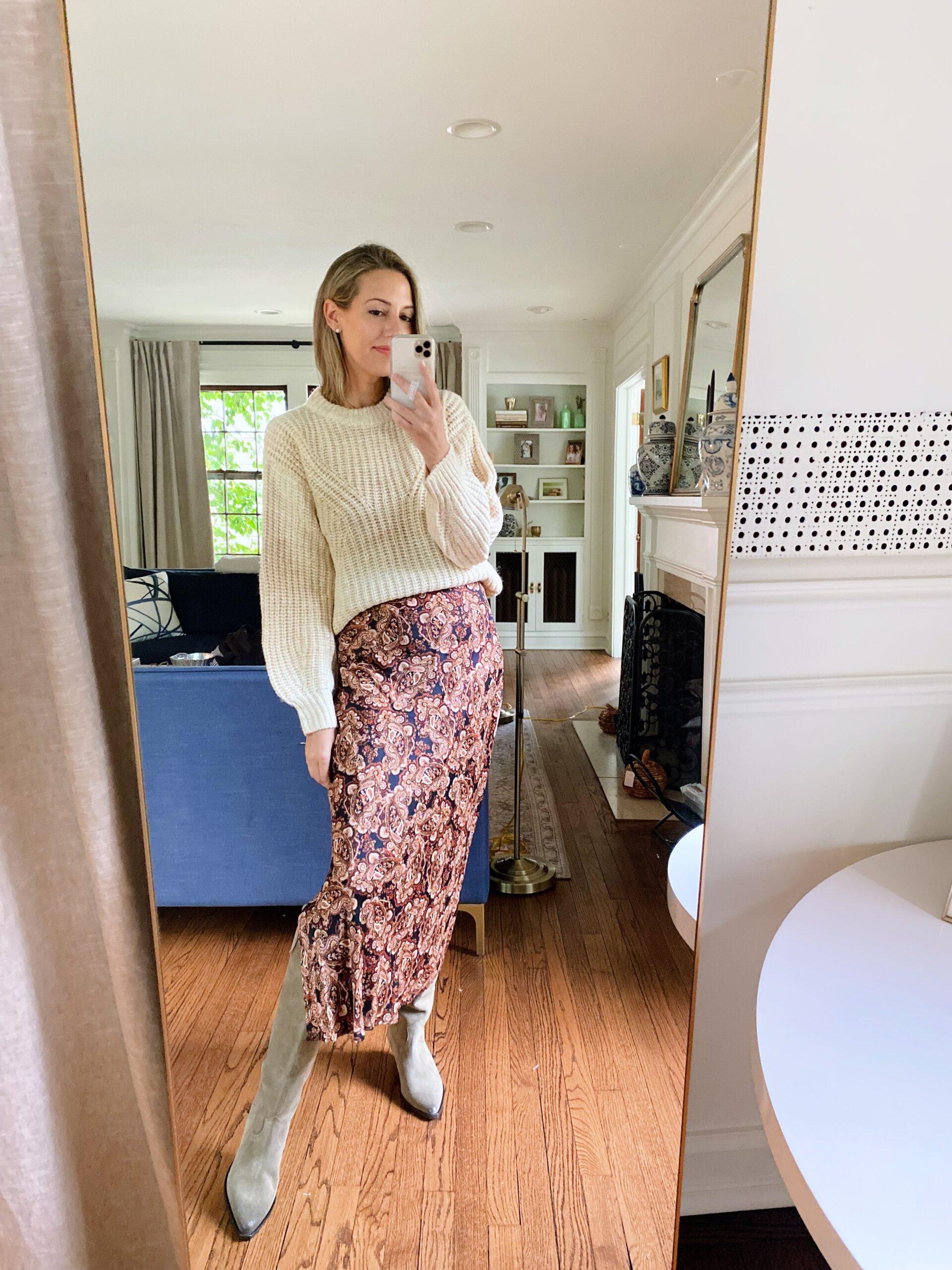 woman in New Day sweater + Nili Lotan dress