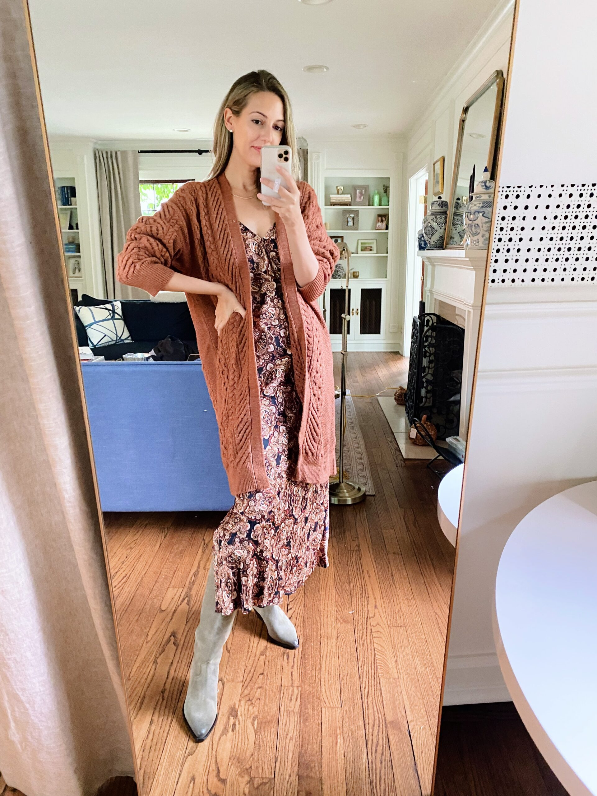 woman wearing maxi dress and cardigan and boots from Target Tuesday